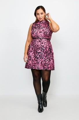 Karen Millen Curve Funnel Neck Printed Jersey Dress