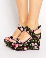 Warehouse Floral Print Platform Wedges
