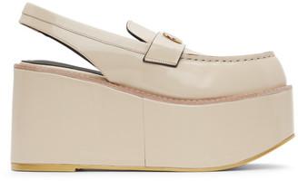 we11done Beige Platform Slingback Loafers