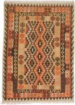 Ecarpetgallery eCarpet Gallery 191980 Hand-Woven Anatolian Kilim Geometric 4' x 6' Brown 100% Wool Area Rug