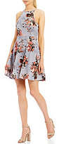 Soprano Floral Printed High Neck Fit-And-Flare Dress