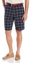 Haggar Men's Cool 18 Woven Plaid Color Ground Plain Front Short