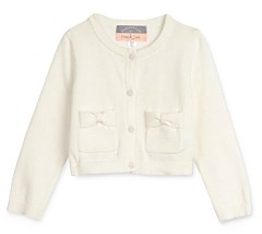 Pippa & Julie Girls' Cotton Bow-Pocket Button Cardigan - Baby
