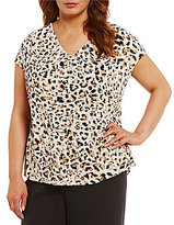 Calvin Klein Plus Animal Print Crepe de Chine Woven Top