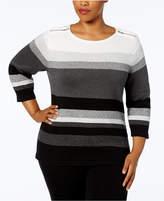 Karen Scott Plus Size Cotton Striped Zip-Shoulder Sweater, Created for Macy's