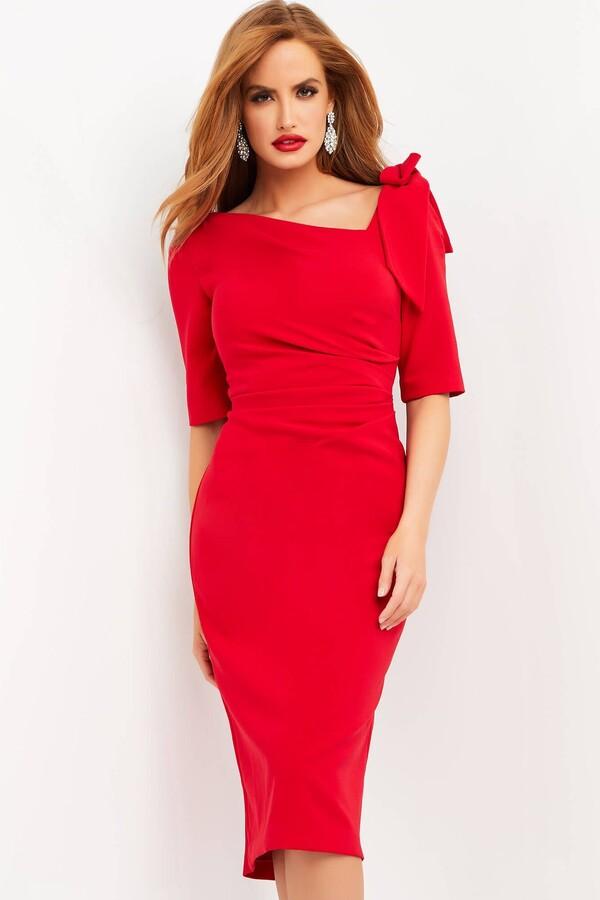 Thumbnail for your product : Jovani Asymmetrical Neck Crepe Dress