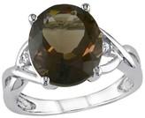 Allura 3.75 CT. T.W. Smokey Quartz and .01 CT. T.W. Diamond 3-Prong Setting Ring in Sterling Silver (I3)