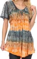 Sakkas 16786 - Monet Long Tall Tie Dye Ombre Embroidered Cap Sleeve Blouse Shirt Top - OSP