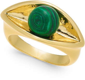 Alfani Gold-Tone Imitation Green Malachite Sculpted Ring