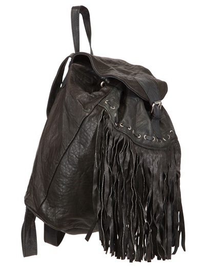Fringed Recycled Soft Leather Backpack