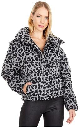 Apparis Chris Faux Wool Puffer Coat (Noir/Ash Grey) Women's Clothing