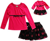 Dollie & Me Fuchsia & Black Dot Skirt Set & Doll Outfit - Girls