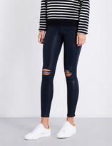 7 For All Mankind The Ankle Skinny coated super-skinny high-rise jeans