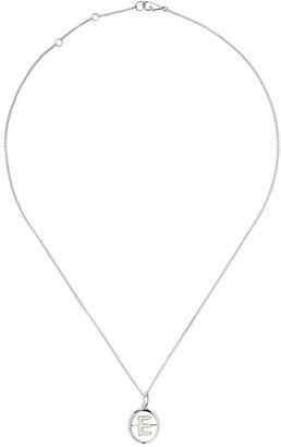 Annoushka 18kt white gold diamond initial E necklace
