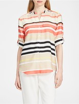Calvin Klein Printed Roll-Up Sleeve Top