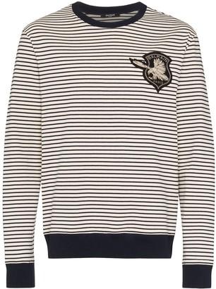 Balmain logo patch striped sweatshirt