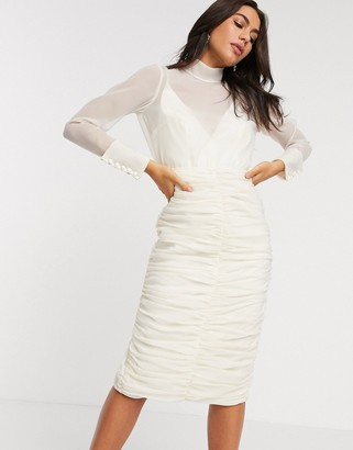 ASOS DESIGN organza ruched pencil midi dress in Ivory