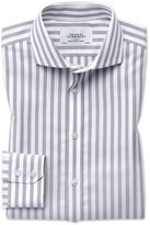 Slim Fit Cutaway Non-Iron Wide Stripe Grey Cotton Formal Shirt Single Cuff Size 14.5/33 by Charles Tyrwhitt