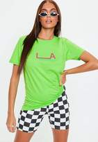 Missguided Lime Green LA Graphic T Shirt