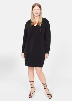 MANGO Violeta BY Cotton hoodie dress black - 10 - Plus sizes