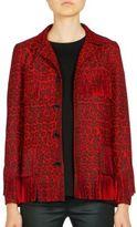Saint Laurent Leopard-Print Fringe-Trimmed Jacket