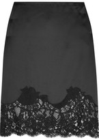 Givenchy Lace-trimmed Silk-satin Skirt - Black