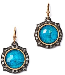 Armenta Sterling Silver & 14K Rose Gold New World Champagne Diamond, Apatite & White Quartz Doublet Drop Earrings