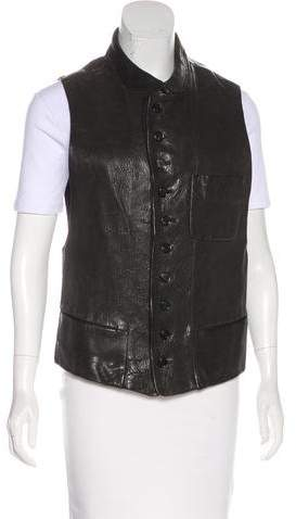 Ann Demeulemeester Leather Button-Up Vest