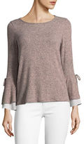 Design Lab Lord & Taylor Bell Tie Sleeve Top
