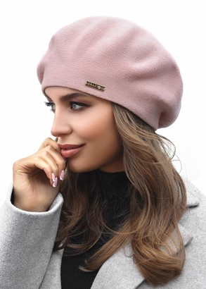Braxton Hats Braxton Wool Beret Hat - Warm Lined Crochet Angora Knit Berets - French Paris Hat for Women - pink - One Size