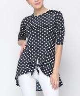 Celeste Women's Tunics BLACK - Black & White Polka Dot Tie-Hem Hi-Low Tunic - Women & Plus