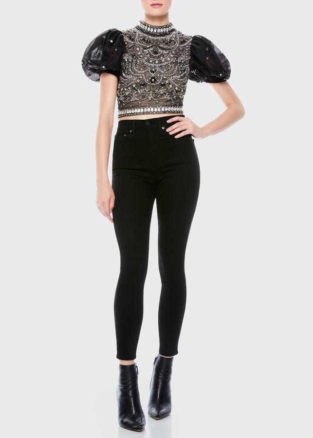 Alice + Olivia Olinda Embellished Puff-Sleeve Crop Top