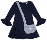 Biscotti Girls' Special Occasion Dresses NAVY - Navy Faux Pearl Ponte Bag A-Line Dress - Toddler