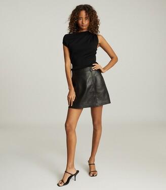 Reiss Miranda - Drape Shoulder Sleeveless Top in Black