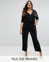 Club L Plus Plisse Wrap Jumpsuit