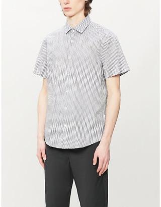 BOSS Graphic-print short-sleeved cotton shirt