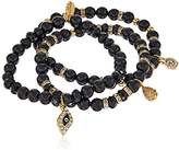 Ettika Classic Arm Party Set of 3 in Black and Gold Bracelet