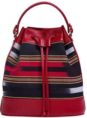 Kuz Calf Leather Red Bag With Handloomed Peshtemal Fabric