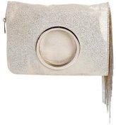 Halston Metallic Fold-Over Clutch