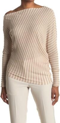 Reiss Soffie Metallic Stripe One Shoulder Top
