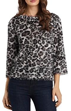 Vince Camuto Leopard Print Eyelash Knit Top