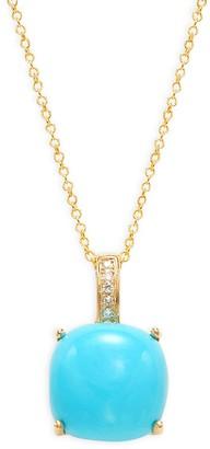 Effy 14K Yellow Gold, Turquoise & Diamond Pendant Necklace