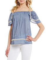 Moa Moa Lace Inset Short-Sleeve Off-The-Shoulder Top
