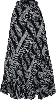 EeZeeCat Ladies Long 100% Crinkle Cotton Tiered Hippy Boho Gypsy Skirt with Internal Petticoat (Blue/Green 3808)