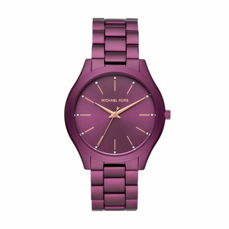 Michael Kors Women's Slim Runway Quartz Watch with Metal Strap Purple 20 (Model: MK4507)