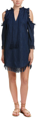 Love Sam Denim Fringe Shift Dress