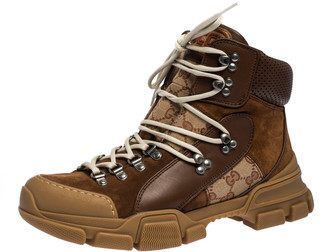 Gucci Brown GG Canvas, Leather and Suede Journey Hiker Boots Size 41.5