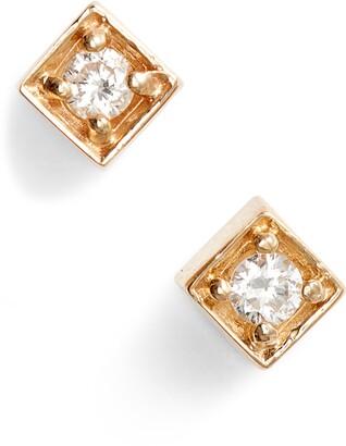 Anzie Cleo Diamond Square Stud Earrings