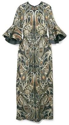 Chloé Ruffled Silk-blend Jacquard Maxi Dress