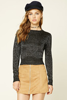 Forever 21 FOREVER 21+ Metallic Knit Cropped Sweater